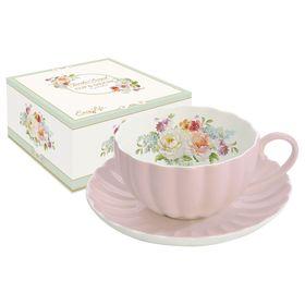 """Чашка с блюдцем """"Королевский сад"""", розовая"""