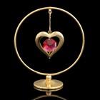 Сувенир «Сердце в кольце», 3х7х8 см, с кристаллами Сваровски, 8 см