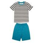 """Пижама для мальчика """"Серия"""", рост 116 см (60), цвет серый/морская волна  УНЖ006001н"""