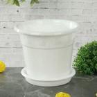 Горшок для цветов 1 л, цвет белый мрамор