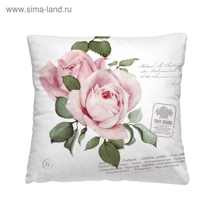 "Подушка декоративная ""Розовый бутон"", размер 40х40 см, габардин"