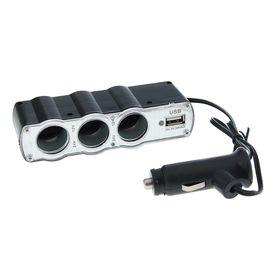 Разветвитель прикуривателя TORSO, 3 гнезда + USB, 12/24 В