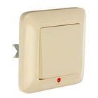 """Выключатель """"Прима"""" SchE S16-053-SI, 6 А, 1 клавиша, скрытый, с подсветкой, цвет бежевый"""