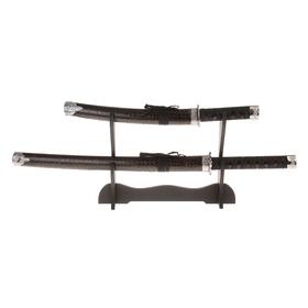 Сувенирное оружие «Катаны на подставке», коричневые ножны под змеиную кожу Ош