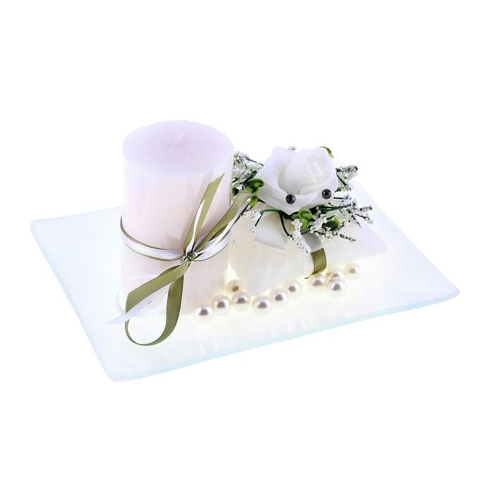 """Свечи восковые (набор 2 шт + декор) """"Нежность"""", цвет белый"""