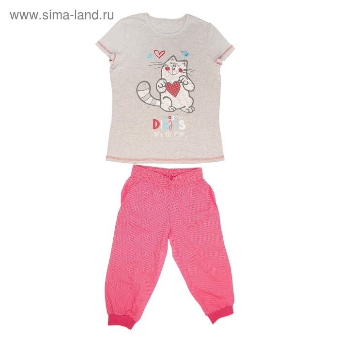 Пижама женская (футболка, бриджи) LP 02-009п цвет красный/серый, принт Коты, р-р 42