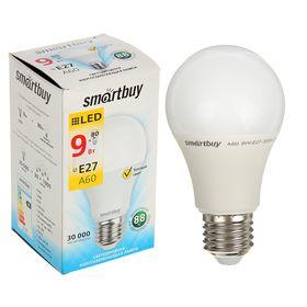 Лампа cветодиодная Smartbuy, A60, E27, 9 Вт, 3000 К, теплый белый