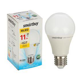 Лампа cветодиодная Smartbuy, A60, E27, 11 Вт, 3000 К, теплый белый