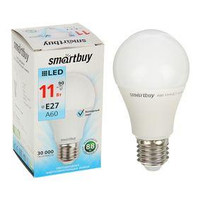 Лампа cветодиодная Smartbuy, A60, E27, 11 Вт, 4000 К, холодный белый