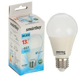 Лампа cветодиодная Smartbuy, A60, E27, 13 Вт, 4000 К, холодный белый