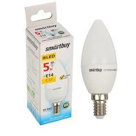 Лампа cветодиодная Smartbuy, C37, E14, 5 Вт, 3000 К, теплый белый