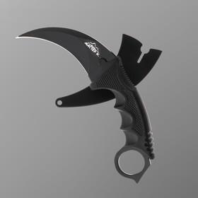 Нож перочинный лезвие керамбит 6см, рукоять с кольцом ,15,5см черный