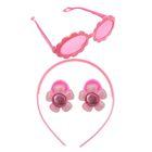 """Набор для девочки """"Цветок"""", 4 предмета: очки, ободок, 2 резинки"""