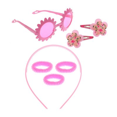 """Набор для девочки """"Цветок"""", 7 предметов: очки, ободок, 3 резинки, 2 зажима"""