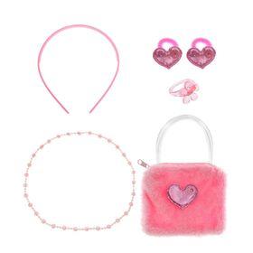 """Набор для девочки """"Модница"""", 6 предметов: сумка, ободок, 2 резинки, бусы, кольцо"""