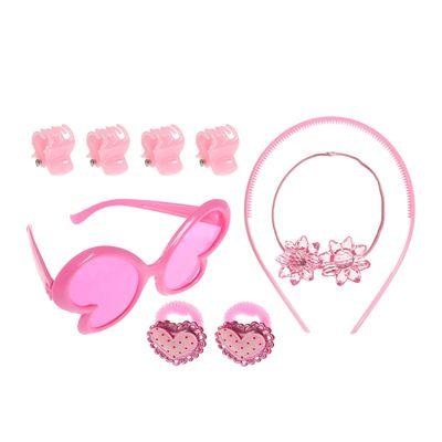 "Набор для девочки ""Сердечки"", 9 предметов: очки, ободок, 3 резинки, 4 краба"