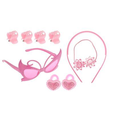 "Набор для девочки ""Красотка"", 9 предметов: очки, ободок, 3 резинки, 4 краба"