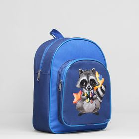 """Рюкзак детский на молнии """"Енот"""", 1 отдел, наружный карман, цвет синий"""