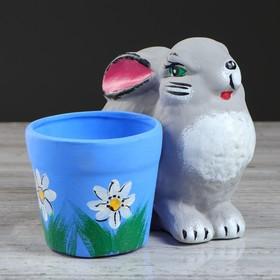 """Горшок для цветов """"Кролик"""" 14 см, микс"""