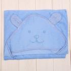 Уголок махровый с капюшоном и вышивкой, цвет голубой, размер 90х90 см