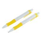 Ручка шариковая авт 0,5мм Лого корпус белый с желтым резиновым держателем стержень синий