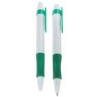 Ручка шариковая авт 0,5мм Лого корпус белый с зеленым резиновым держателем стержень синий
