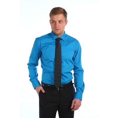 Сорочка мужская BENAFFETTO SS 16 6301-5 S лазурно-синий, р-р 39-170-176