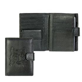 """Портмоне мужское 3 в 1 """"Волк"""", с отделом для автодокументов и паспорта, 2 отдела для монет и карт, цвет чёрный"""