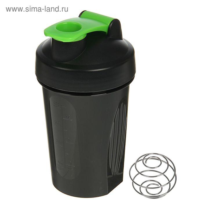 Шейкер спортивный с шариком, 400 мл, чёрный, хлястик зелёный