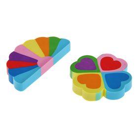 Ластик из синтетического каучука Rainbow 2 вида: сердце+цветок, многоцветный, фигурный, микс Ош