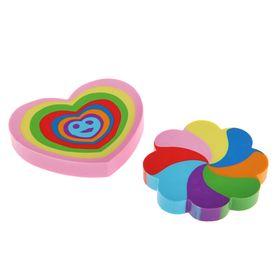 Ластик из синтетического каучука Rainbow 2 вида: цветок+веер, многоцветный, фигурный, микс Ош