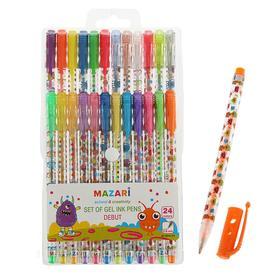 Набор гелевых ручек 24 цвета Debut, блестки, узел 0.8мм, пулевидный пишущий узел