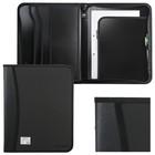Папка на молнии пластиковая А4, 350х282х33мм, 2 отделения, 4 кармана, бизнес-класс, черная