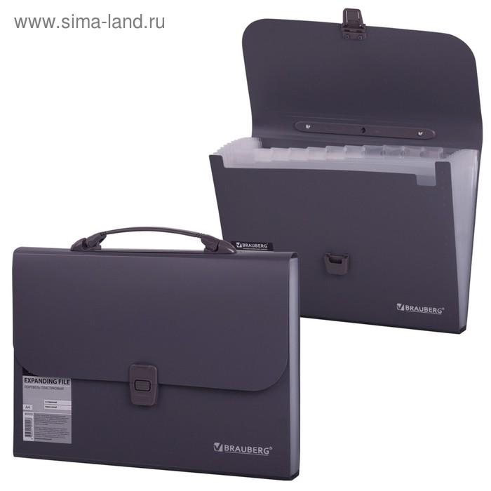 Портфель пластиковый А4, 327х254х30мм, стандартная фактура, 13 отделений, индекс, темно-серый