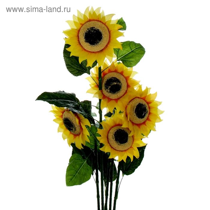 """Куст искусственный """"Подсолнухи"""" 5 цветов, d-29 см"""