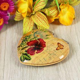 """Зеркало складное """"Цветы. Бабочки"""", в форме сердца, двустороннее, с увеличением, цвет МИКС"""