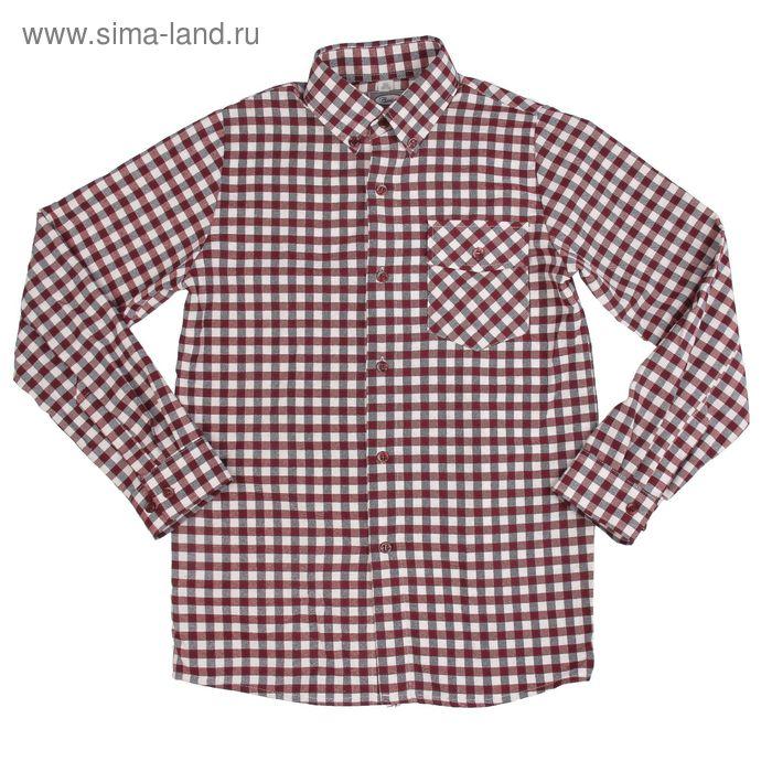 Сорочка для мальчика, рост 98 см (26), цвет цвет бордовый, принт клетка  1141Ш