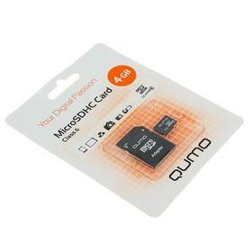 Карта памяти MicroSDHC Qumo, 4 GB, Сlass 6, с адаптером SD