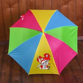 Зонт детский полуавтоматический 'Радуга с зайкой', r=37см, цвет МИКС Ош