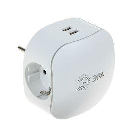 """Разветвитель """"ЭРА"""" SP-3e-USB-2A, 3 розетки + 2 USB 2000mA, 16 А, с з/к, шторки, белый"""