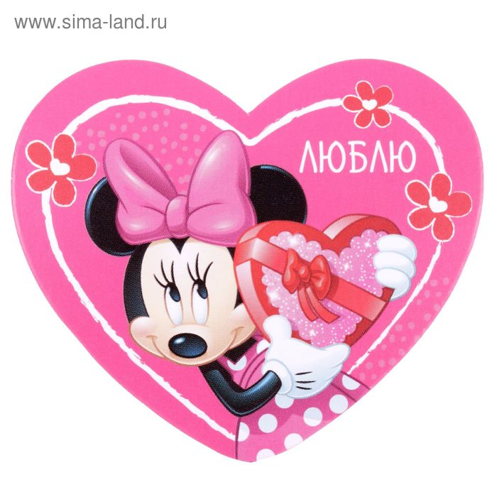 "Открытка-валентинка ""Люблю"" Минни Маус, 7х6см"