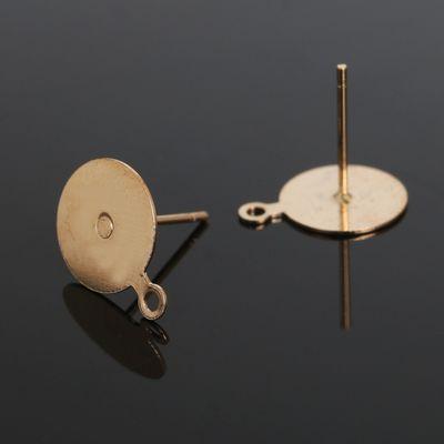 Основа для пусет с петелькой, площадка 10мм (набор 20шт) СМ-1111, цвет золото
