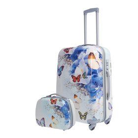 Чемодан с кейсом 'Бабочки', средний, 24', 70 л, кодовый замок, 4 колеса, цвет белый Ош