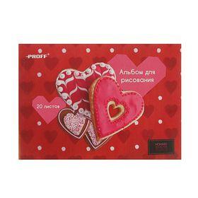 альбом д/рис A4 20л на скрепке Hearts, обл. мел/картон 100г/м2 HS16-AFD20