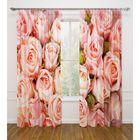 """Фотошторы """"Розовые розы"""",  ширина 145 см, высота 260 см-2 шт., габардин 02365"""