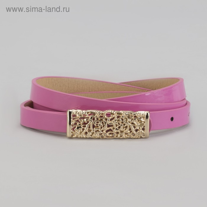 """Ремень женский """"Ажур"""", ширина 1.5 см, пряжка-гвоздь под золото, цвет розовый"""