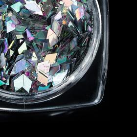 Декор для ногтей 'Кусочки битого стекла', цвет серебристый Ош