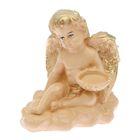 """Статуэтка """"Ангел сидячий"""" маленькая бежевый, с подсвечником"""
