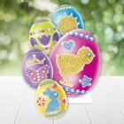 """Набор для декорирования яиц """"С Пасхой""""+ трафареты, блестки 6 цветов по 2 гр., стразы"""
