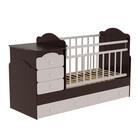Детская кровать-трансформер Infanzia с поперечным маятником, цвет венге/белый